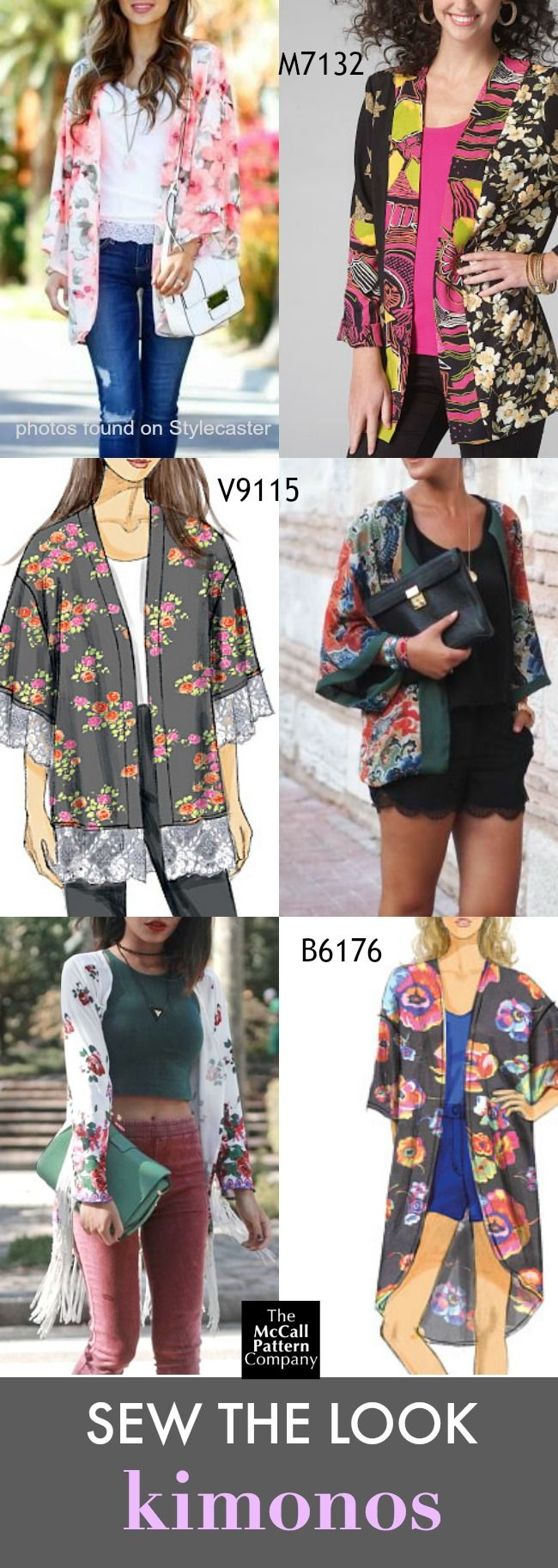 Kimonos are the perfect layering piece for spring and summer. These are different kimono sewing pattern options from McCall's, Butterick and Vogue Patterns,