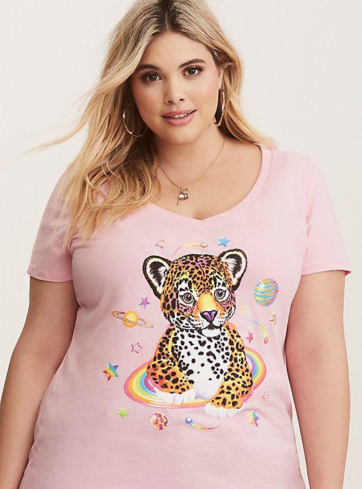 7e699d5677e36 Plus Size Lisa Frank Multi-Color Leopard V-Neck Tee