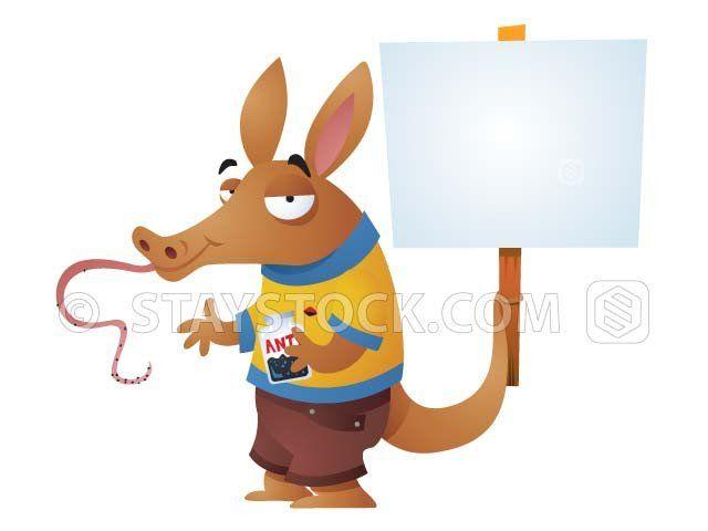 Aardvark with Sign