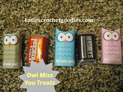 Owl miss you treats - printable for bite size candy! :)