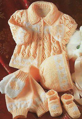 Baby Knitting Pattern CUTE DIAMOND MATINEE COAT SET DK 16 - 22 in - vintage