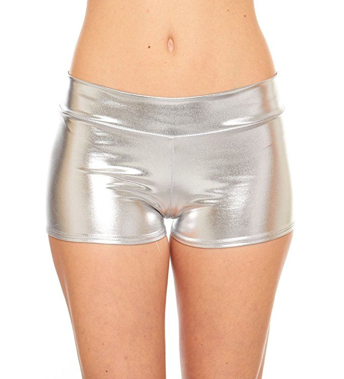 Women's Rave Booty Shorts Mini Hot Pants, Metallic Wet Look, By Red Hanger at Amazon Women's Clothing store: