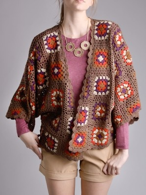 Granny Square Cardigan - I wouldn't pair it with the clothes the model is wearing.