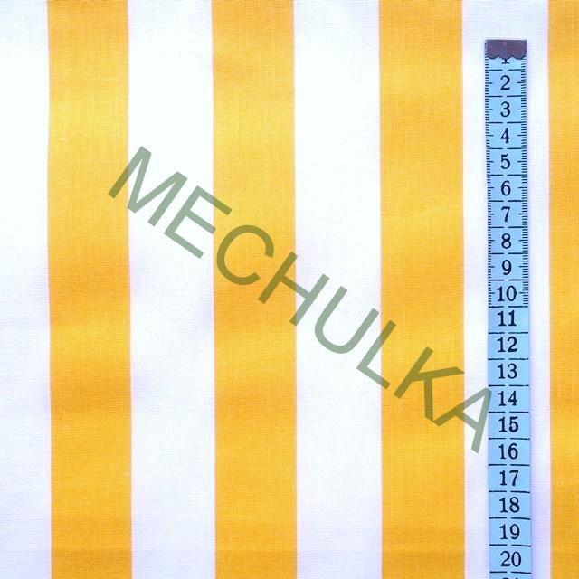 Tmavě žluto-bílé pruhy / široký proužek - látka - pruhovaná metráž - bavlna