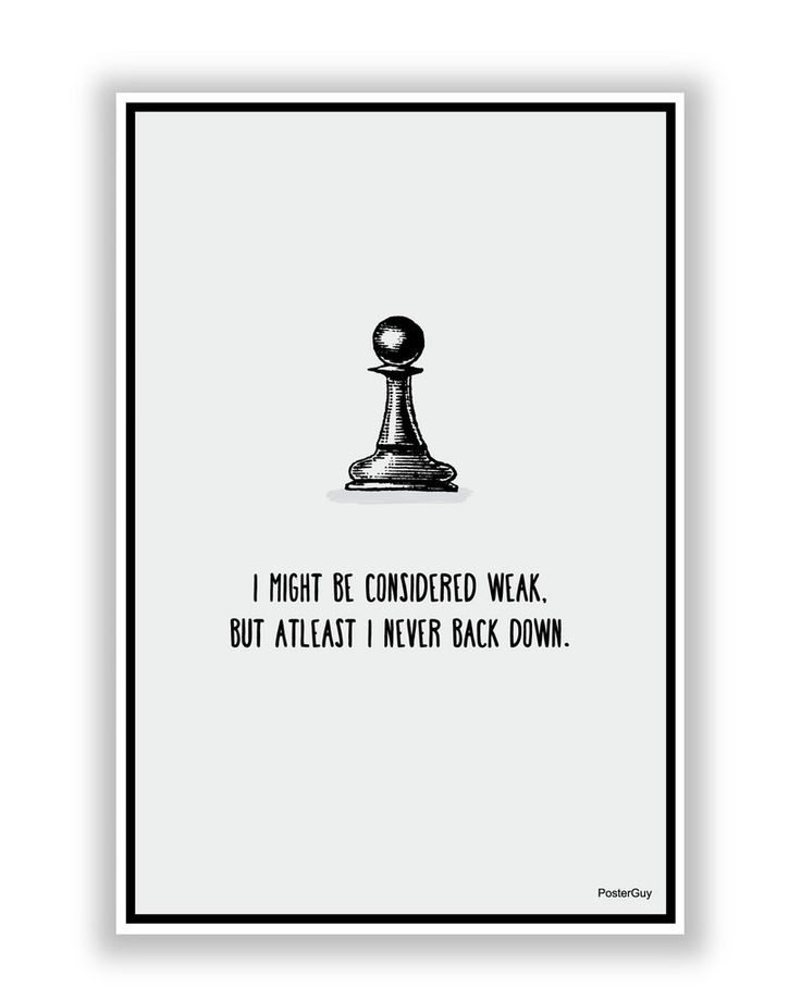 Never Back Down Chess Motivational Poster
