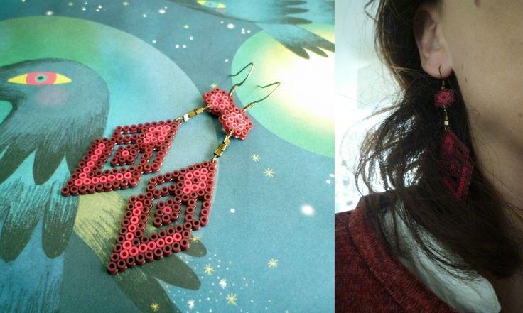 Boucles d'oreilles perles Hama Hama beads earrings