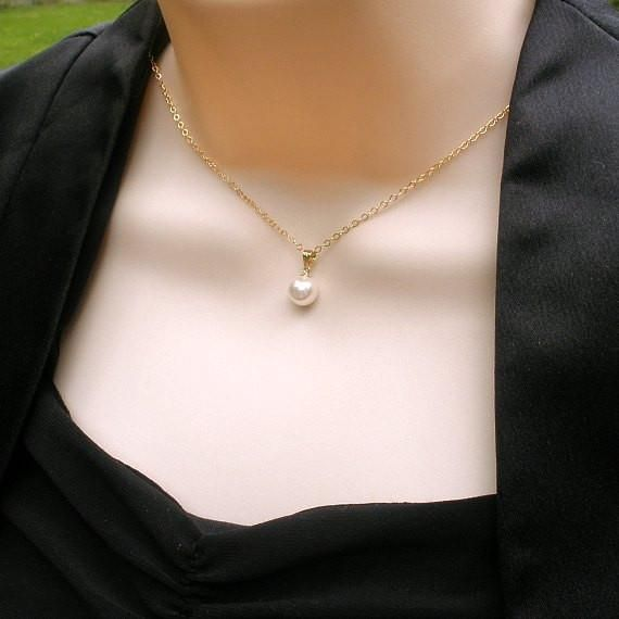 Dainty Single Pearl Necklace, 14k Gold Filled