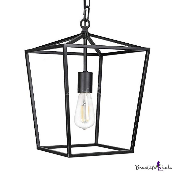 Black Lantern Pendant Light With Metal Frame Single Light
