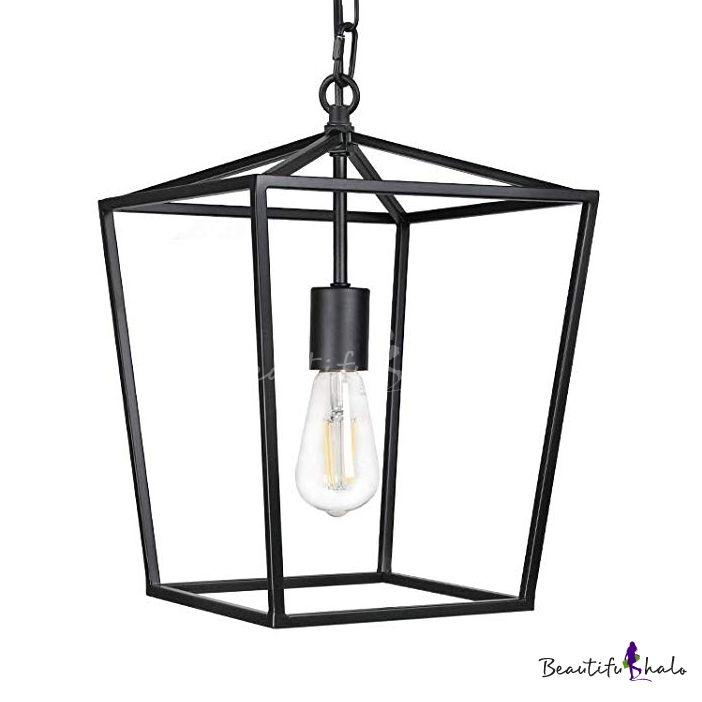 Black Lantern Pendant Light With Metal Frame Single Light Industrial Hanging Ceiling Light Hanging Ceiling Lights Lantern Pendant Lighting Industrial Pendant Lights