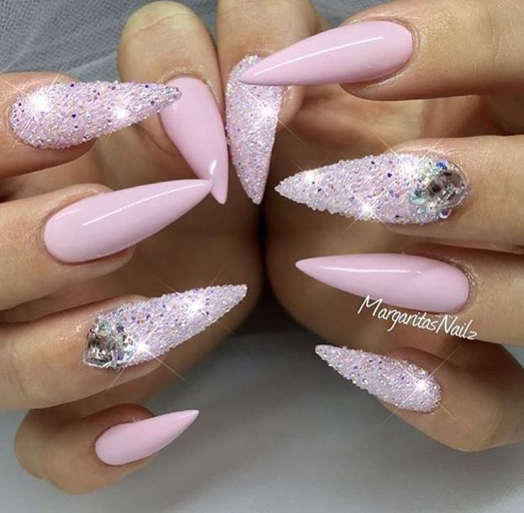 Pink Bling Stiletto Nails by MargaritasNailz - Nail Art Gallery… - Best 25+ Pink Sparkle Nails Ideas On Pinterest Sparkly Nails
