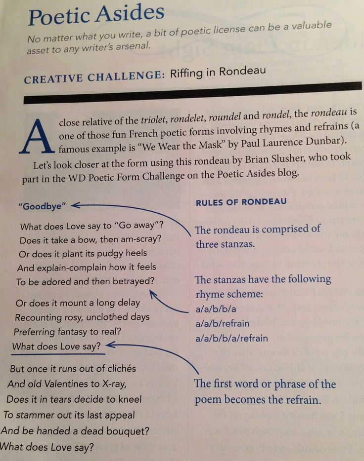 Writing a rondeau poem rules