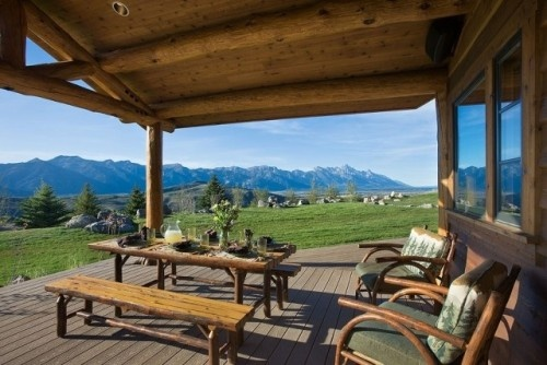 Mountain view from the outdoor kitchen.  Love how wide and roomy the porch is!: Mountain View, Cabin, Covers Patio, Open Spaces, Ranch House, Back Porches, Traditional Porches, Jackson Hole, Photo