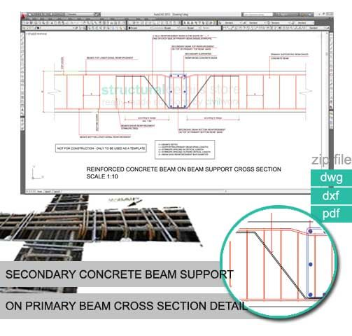 Secondary Concrete Beam Supported on Primary Beam Cross Section