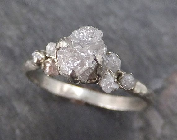 Raw Diamond White gold Engagement Ring Rough Gold by byAngeline                                                                                                                                                                                 More