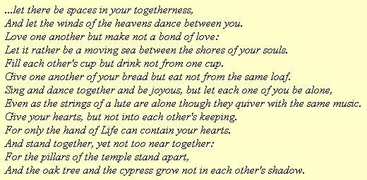 Khalil Gibran - 'On Marriage'
