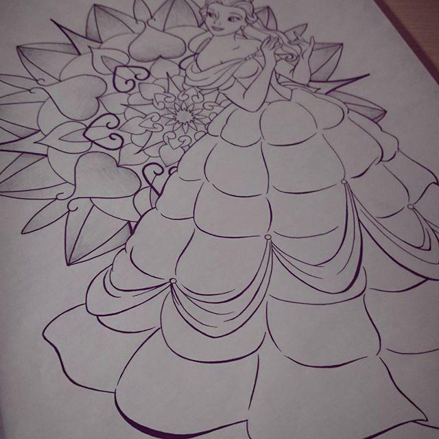 Belle 💞 ________________________________________ #work #art #artwork #trubatattoo #tattooart #tattooartist #blackandwhite #aliceinwonderland #creative #linework #dotwork #mandala #blackwork #illustration  #new #like #flowers #tattoosketch #black #blackart #geometry  #love #mandalas #sketch #tattooflash #tattoos #tattoo  #blacktattoo #princess #disney #flowers