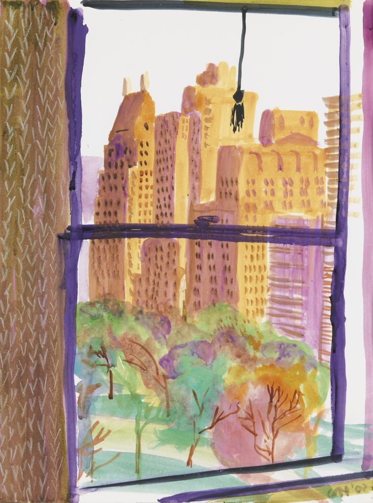 "lawrenceleemagnuson: "" David Hockney (UK b. 1937) View from the Mayflower Hotel, New York (Evening) 2002 watercolor and crayon on paper 60.3 x 45.7 cm """