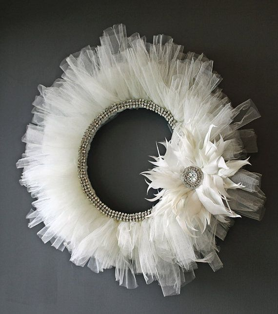 tulle, rhinestones, feathers (3 15ft. spools of tulle, foam wreath, matching ribbon to wrap around the foam)