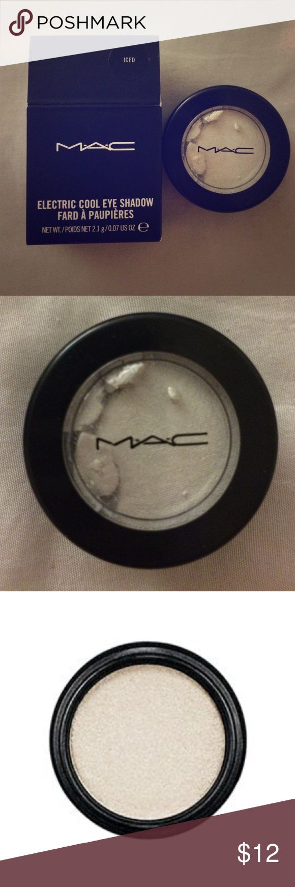 """MAC Iced Electric Cool Eyeshadow A high-frost, shiny pigmented eye shadow with a soft, spongy texture. A pearly white shade with some shimmer. As per MAC's website: """"Electric Cool eyeshadow's unique flexible texture may shift in the package if dropped or subjected to extraordinary use. If this happens, product performance will not be compromised. Pat the """"cake"""" into place in the pan and apply as usual."""" MAC Cosmetics Makeup Eyeshadow"""