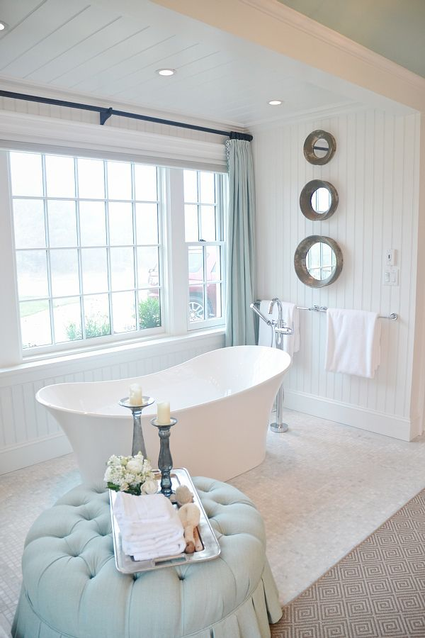 Lovely calm & relaxing bathroom. These tubs are better than a claw foot tub because they are just as elegant but you don't have to clean underneath.