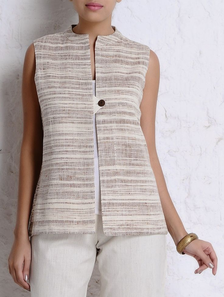 Buy Brown Ivory Handspun Khadi Sleeveless Jacket Apparel Jackets Simple Living…