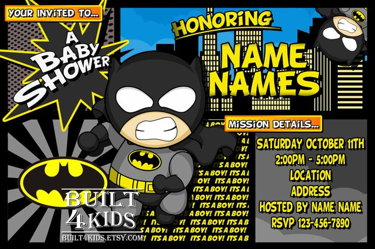 baby batman baby shower invitation birthday invite hero party