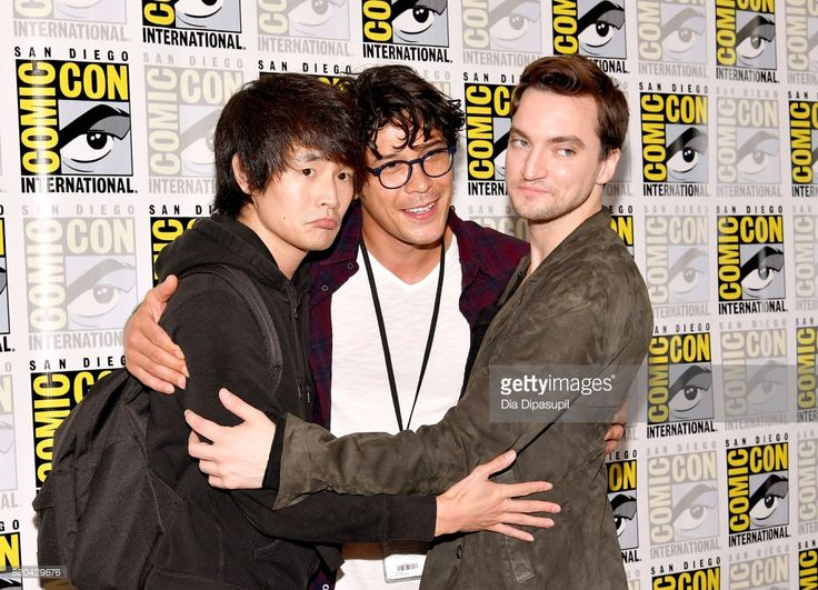 Actors Christopher Larkin, Bob Morley and Richard Harmon at 'The 100' Press Line during Comic-Con International 2017 at Hilton Bayfront on July 21, 2017 in San Diego, California.