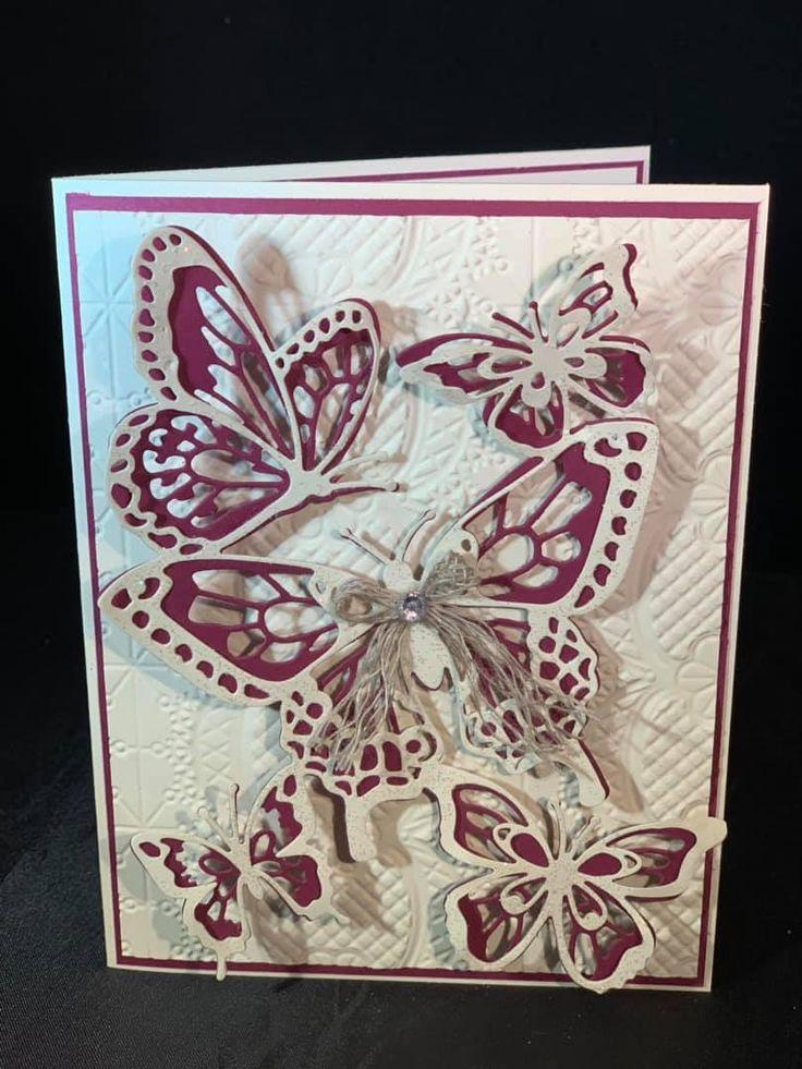 Благодарность, открытка с вырезанной бабочкой