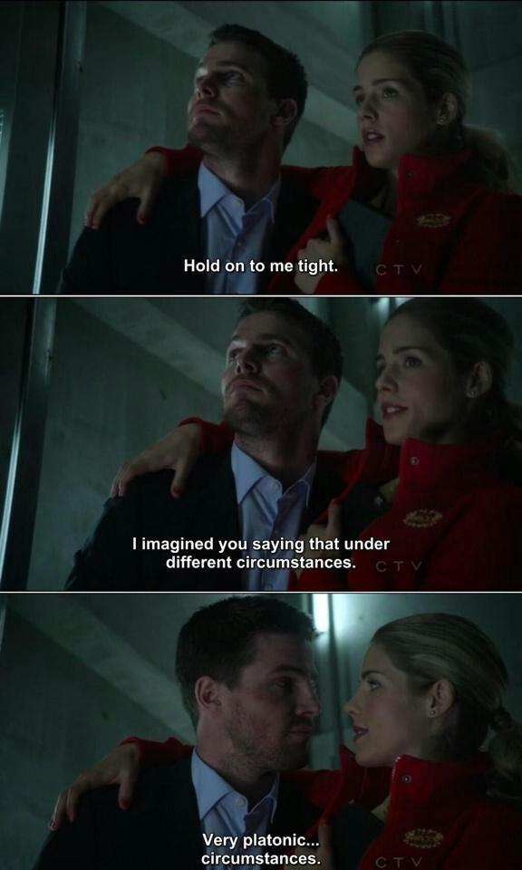 """Platonic circumstances."" Good save, Felicity. Good save."