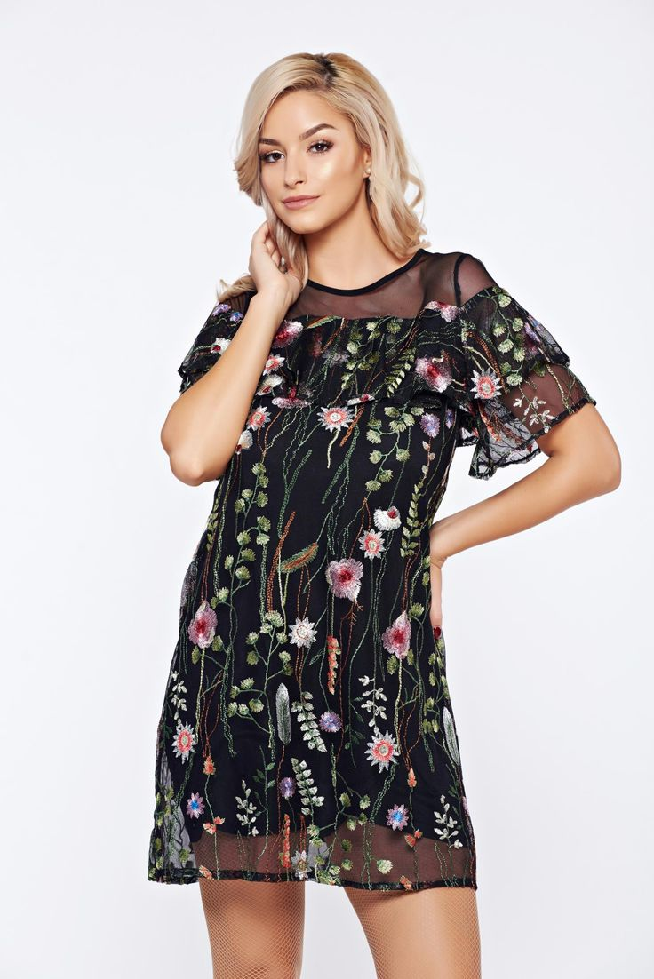 Top Secret black daily tulle dress with floral print, with ruffles on the chest, short sleeves, voile details, floral prints, airy fabric