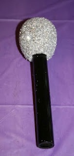 DIY Rock Star Microphones made from styrofoam eggs, pvc pipe, glitter, glue and spray paint