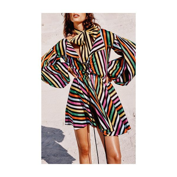 Caroline Constas     Olympia Striped Mini Dress ($595) ❤ liked on Polyvore featuring dresses, short mini dress, striped mini dress, short striped dress, laced dress and short dresses