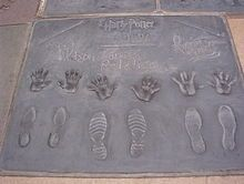 Handprints, footprints and wand prints of (from left to right) Emma Watson, Daniel Radcliffe, Rupert Grint.  Daniel Radcliffe - Wikipedia.