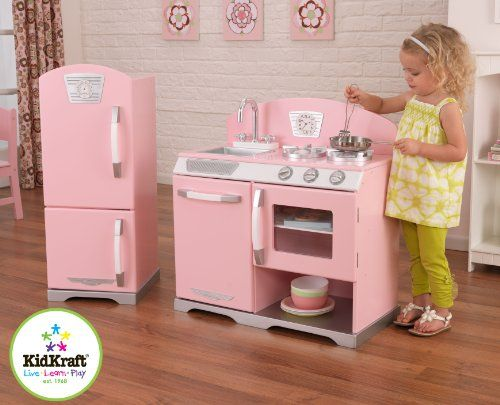 KidKraft Pink Retro Kitchen and Refrigerator - Cool Kitchen Gifts