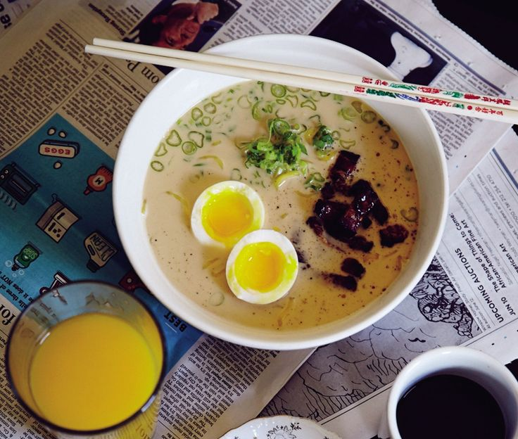 Buttered-Toast Ramen With Bacon And Eggs
