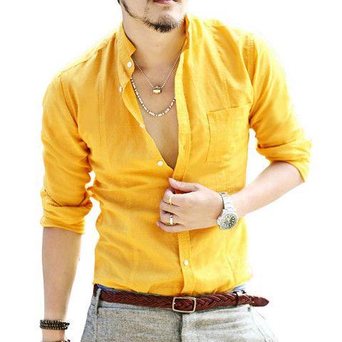 Spring small collar linen shirt for men and boys #yellow #mens #menswear #boys #fashion #stylish #mensfashion #o2n #style #linen