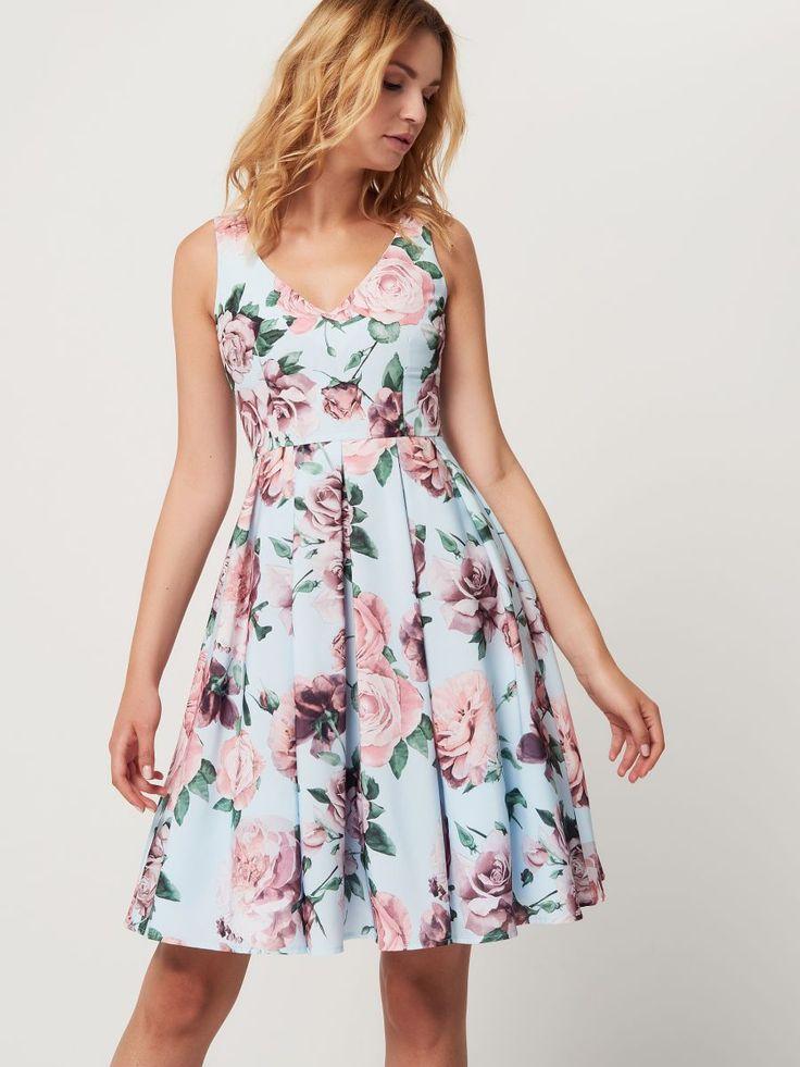 Błękitna sukienka w kwiaty, MOHITO, SD506-05X