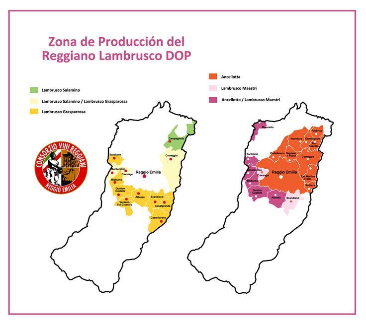 Zonas de producción del #LambruscoDOP en la provincia de Reggio Emilia (Italia) tuteladas por el Consorzio Vini Reggiani