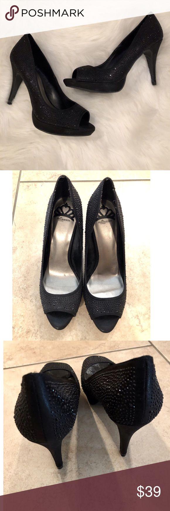 Fergalicious Schuhe   Fergalicious schwarzer Strass Peep Toe Heels   Farbe: Schwarz   Größe: 8