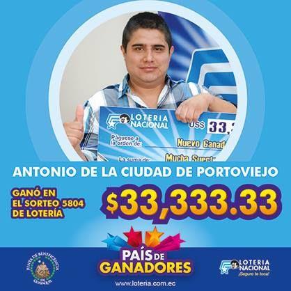 Reciente Ganador de Loteria Nacional de Ecuador 2015.