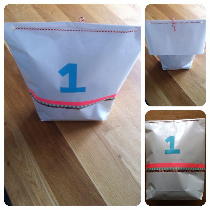 Zakje maken van inpakpapier en versieren met washi tape