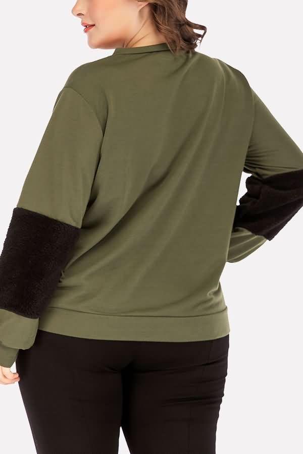 Women Army-green Faux Fur Splicing Round Neck Casual Plus Size Sweatshirt – XXL