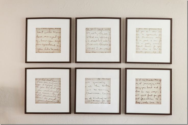Take old, handwritten notes that have special meaning....enlarge the notes on a copier and place them in frames. These frames are from IKEA.