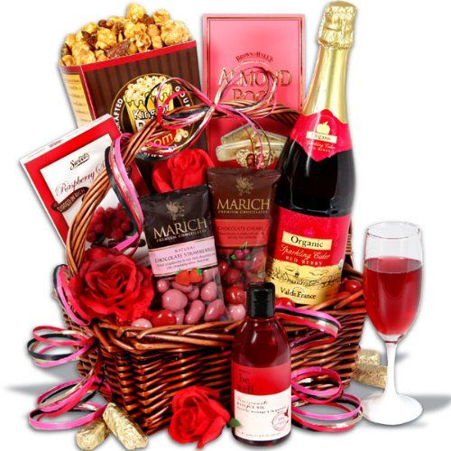 Gift Baskets For Valentines Day For Him Her Love Is In The Air Pinterest Gift Baskets Gifts And Gift Baskets For Women
