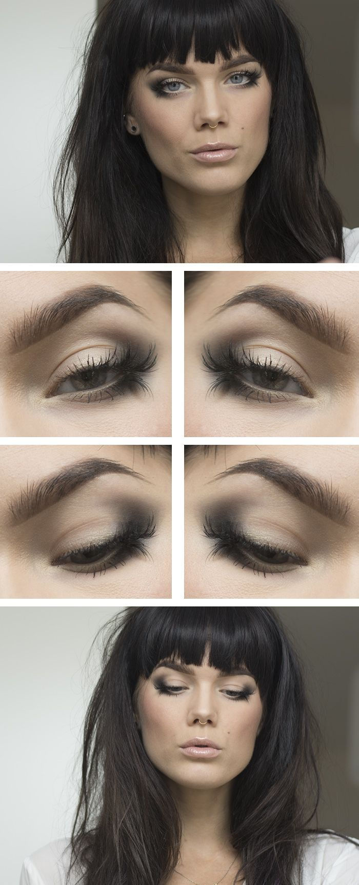 Smokey eye With just a blended pencil, some gold liner and lashes cut to pieces. Nice!