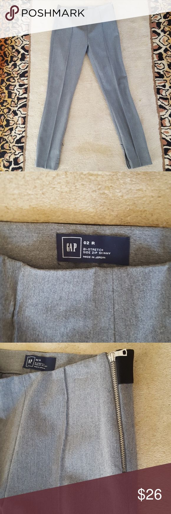 Gap Bi-stretch side zip skinny Gap bi-stretch side zipper, inside button skinny work pants. Zippers on inner calves to make bottoms skinny or slight flare. Stretchy back waist band. GAP Pants
