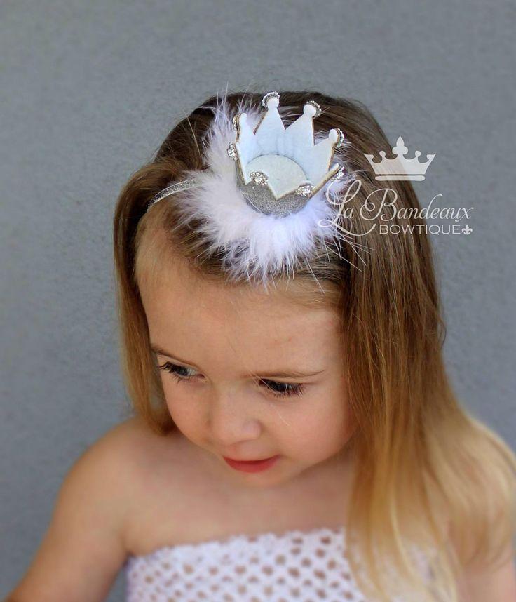 Silver Glitter Princess Crown, Birthday Crown Headband, Baby Crown Headband, Princess Crown Infant Headband, Crown Princess Headband by LaBandeauxBowtique on Etsy