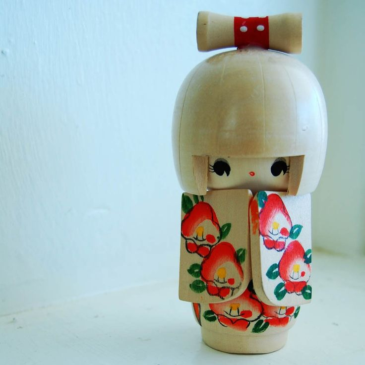 VINTAGE Japanese Wooden Hand Painted KOKESHI Doll by IntheDesert