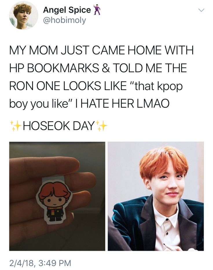 """""""That kpop boy you like"""".   Haha, that moment when Ron Weasley resembles Jung Hoseok."""