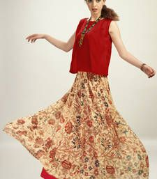 Buy Red Chiffon Top With Georgette Skirt kurtas-and-kurti online